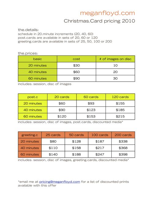 Christmas card pricing 2010